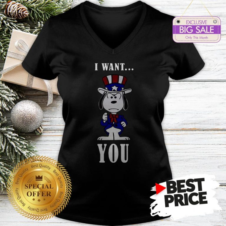 Official Snoopy American Flag I Want You V-Neck