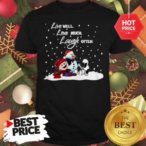 Official Snoopy Charlie Brown Live Well Love Much Laugh Often Christmas Shirt