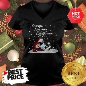 Official Snoopy Charlie Brown Live Well Love Much Laugh Often Christmas V-Neck