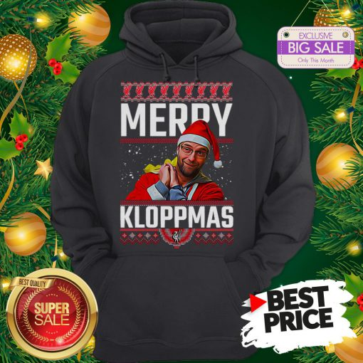 Official Something Merry Kloppmas Jurgen Klopp LFC Ugly Christmas Hoodie