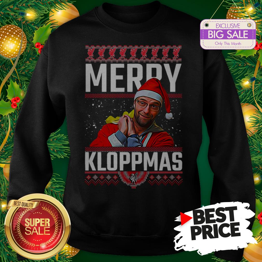 Official Something Merry Kloppmas Jurgen Klopp LFC Ugly Christmas Sweatshirt