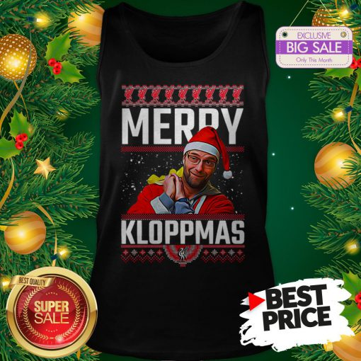 Official Something Merry Kloppmas Jurgen Klopp LFC Ugly Christmas Tank Top