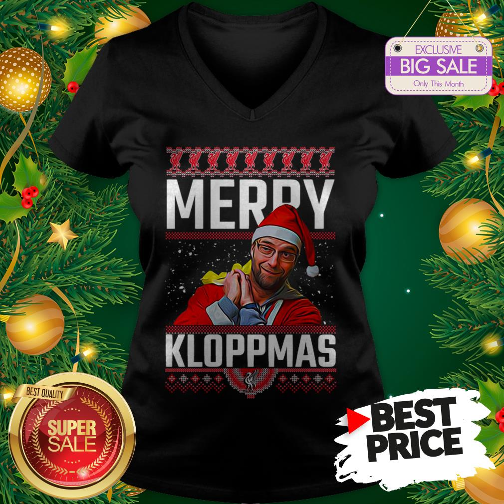 Official Something Merry Kloppmas Jurgen Klopp LFC Ugly Christmas V-Neck