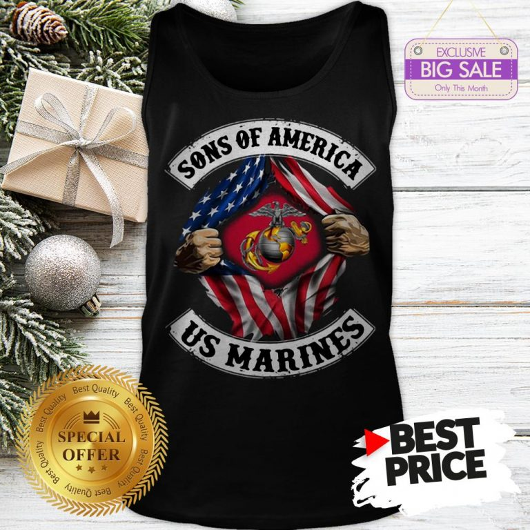 Official Sons Of America US Marines Inside American Flag Tank Top