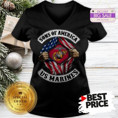 Official Sons Of America US Marines Inside American Flag V-Neck