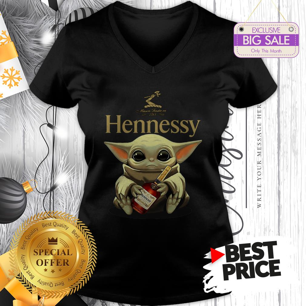 Official Star Wars Baby Yoda Hug Hennessy V-Neck