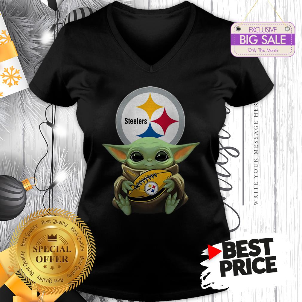 Official Star Wars Football Baby Yoda Hug Pittsburgh Steelers V-Neck
