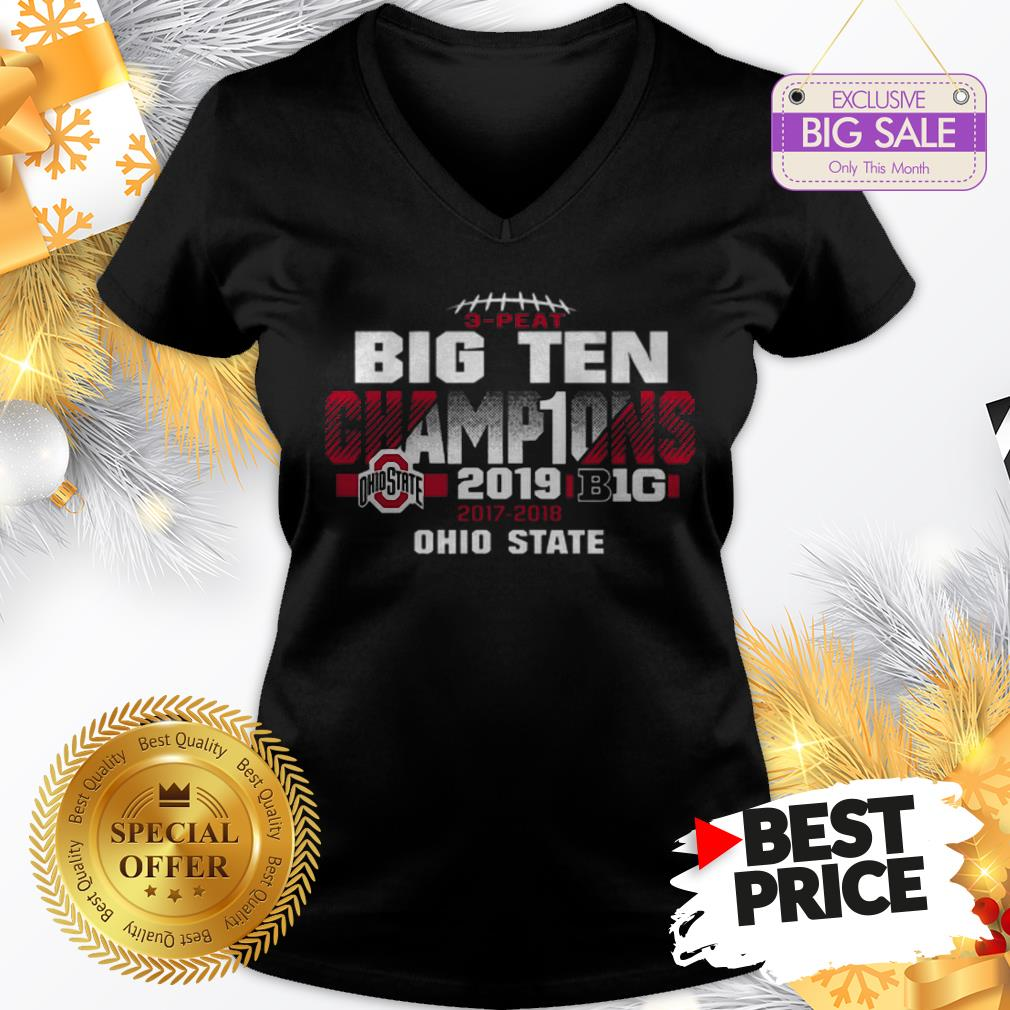 Official Top 2019 Big Ten Football Champions Ohio State Buckeyes V-Neck