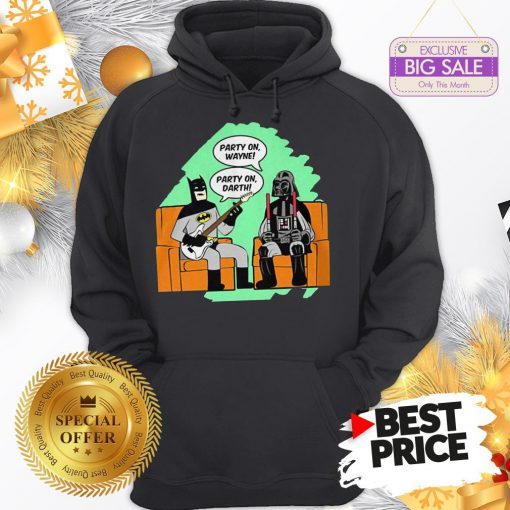 Official Top Mens Batman And Darth Vader Party On Wayne Party On Darth Hoodie