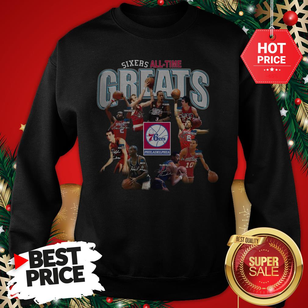 Official Top Philadelphia 76ers Sixers All Time Greats Signatures Sweatshirt
