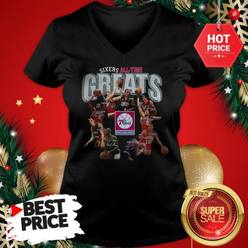 Official Top Philadelphia 76ers Sixers All Time Greats Signatures V-Neck