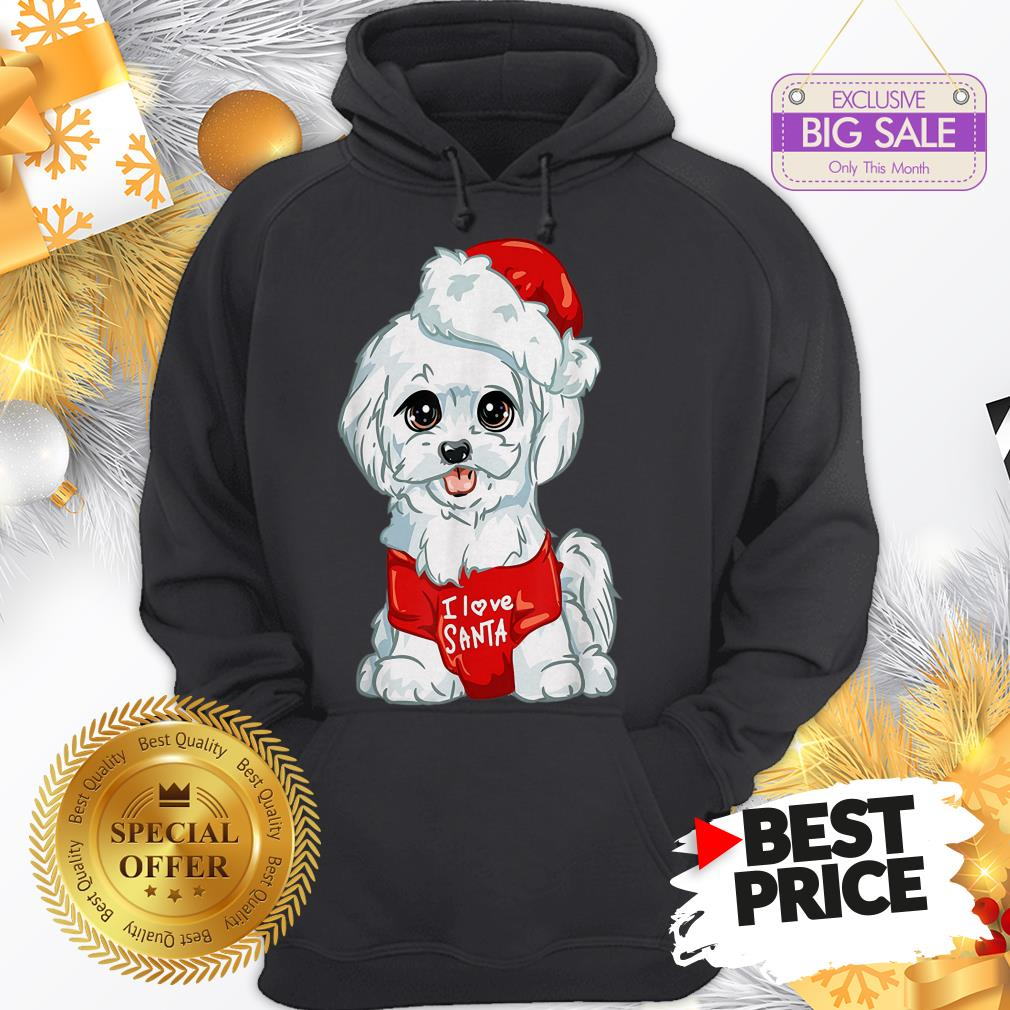 Official Wonderful Nice White Maltese Dog I Love Santa Puppy Dogs Christmas Gift Hoodie