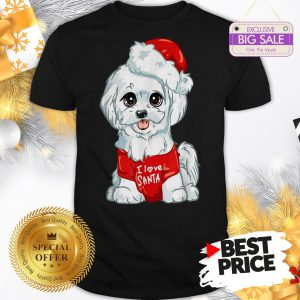 Official Wonderful Nice White Maltese Dog I Love Santa Puppy Dogs Christmas Gift Shirt