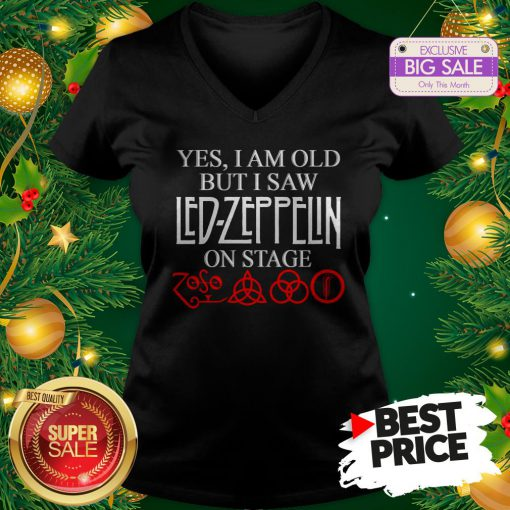 Official Yes I Am Old But I Saw Led Zeppelin On Stage Zoso Symbol V-Neck