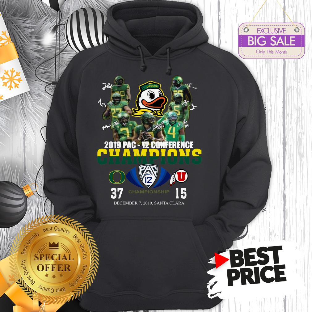 Oregon Ducks 2019 Pac 12 Conference Championship 37 Or 15 Hoodie