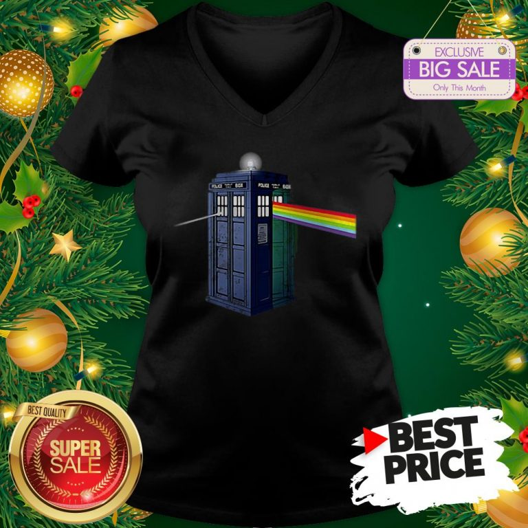 Pink Floyd Doctor Who Tardis Dark Side Of The Booth V-Neck