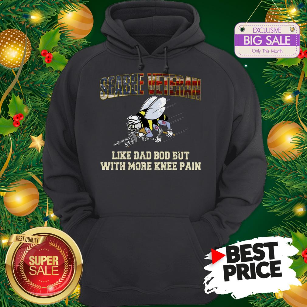 Seabee Veteran Like Dad Bod But With More Knee Pain USA Flag Hoodie