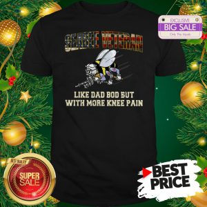Seabee Veteran Like Dad Bod But With More Knee Pain USA Flag Shirt