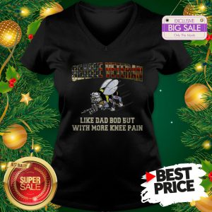 Seabee Veteran Like Dad Bod But With More Knee Pain USA Flag V-Neck