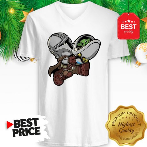 The Mandalorian Baby Yoda Kids Funny Bounty Bros V-neck