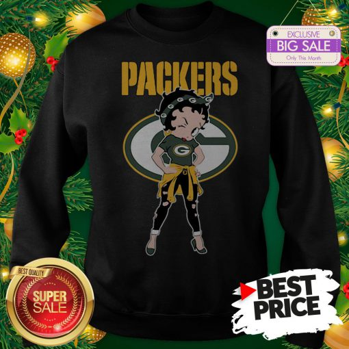 Top Betty Boop Green Bay Packers Lovely Sweatshirt