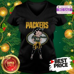 Top Betty Boop Green Bay Packers Lovely V-Neck