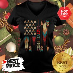 Top Native American Feather American Flag Apparel V-neck