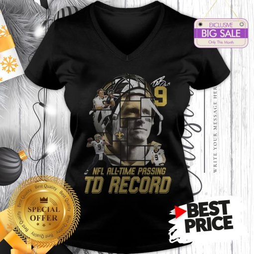 Under 9 Drew Brees Signed Passing To Record 540 New Orleans Saints V-Neck