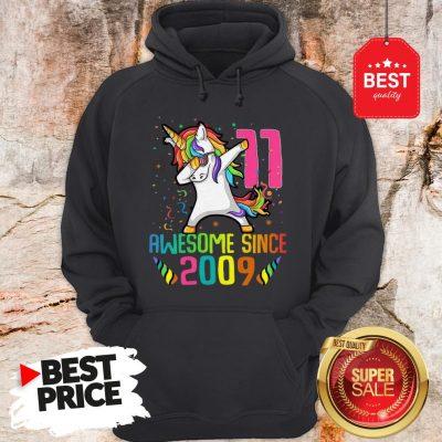 Awesome Since 2009 11 Years Old 11th Birthday Unicorn Dabbing Hoodie