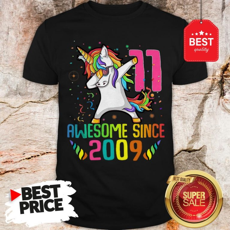 Awesome Since 2009 11 Years Old 11th Birthday Unicorn Dabbing Shirt