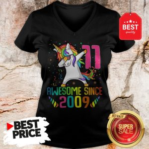 Awesome Since 2009 11 Years Old 11th Birthday Unicorn Dabbing V-Neck
