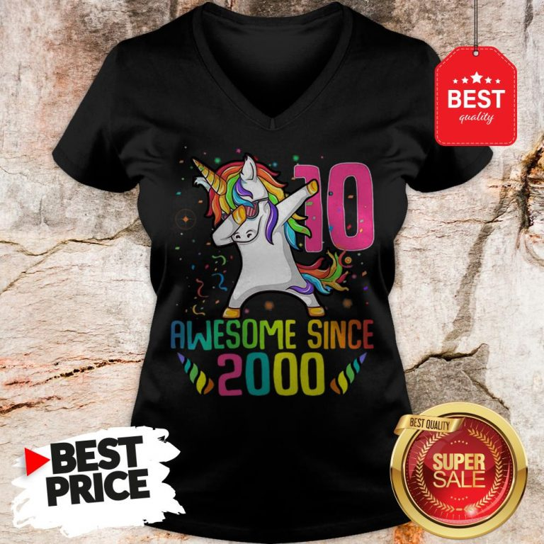 Awesome Since 2010 10 Years Old 10th Birthday Unicorn Dabbing V-Neck