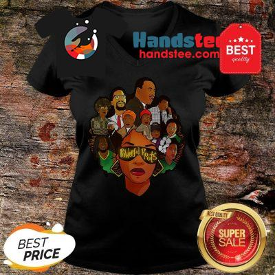 Black Women Powerful Roots Black History Month V-Neck