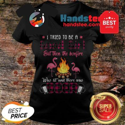 Flamingos I Tried To Be A Good Girl But Then The Bonfire Beer V-Neck