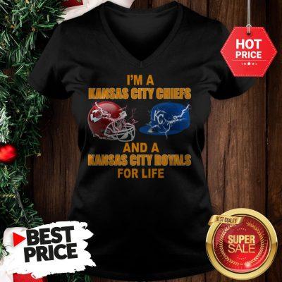 Official I'm A Kansas City Chiefs And A Kansas City Royals For Life V-Neck