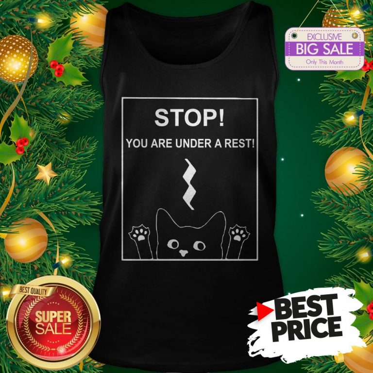 Stop You Are Under A Rest Funny Symbol Music Notes Musician Tank Top