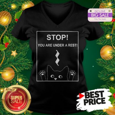 Stop You Are Under A Rest Funny Symbol Music Notes Musician V-neck
