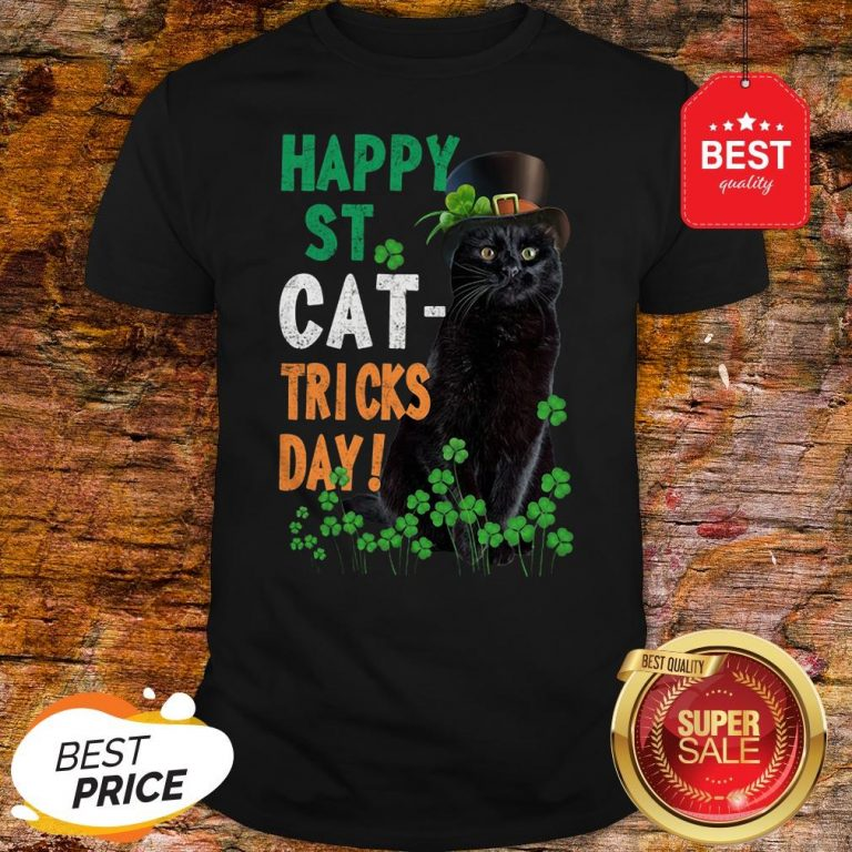 Official Happy St Cat-Tricks Day St. Patrick Day Black Cat Shirt