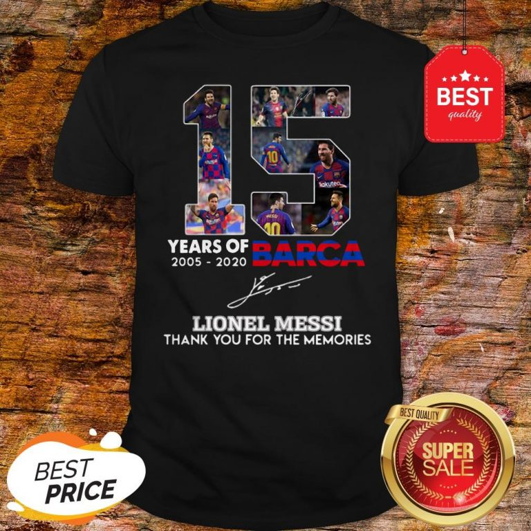 15 Years Of Barcelona Signature Lionel Messi Thank For Memories Shirt
