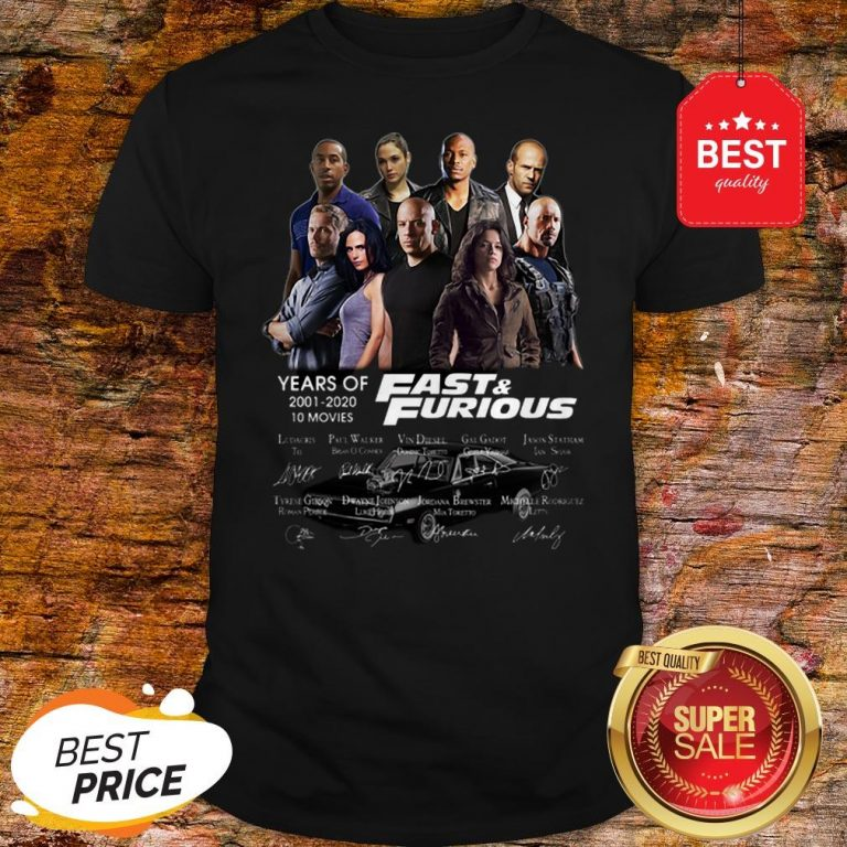 Official Fast & Furious Years Of 2001 2020 10 Movies Signatures Shirt