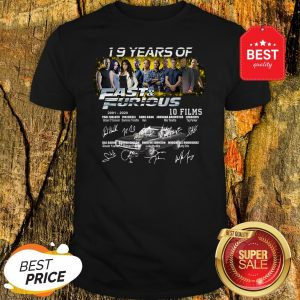 Official 19 Years Of 2001 2020 Fast And Furious 10 Films Signatures Shirt