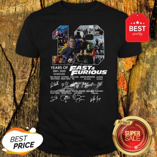 Official Fast And Furious 19 Years Of 2001 2020 10 Movies Signatures Shirt