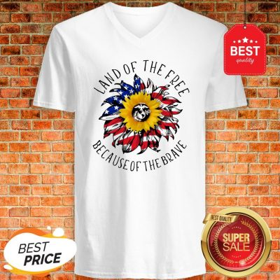 Sunflower American Land Of The Free Because Of The Brave V-Neck