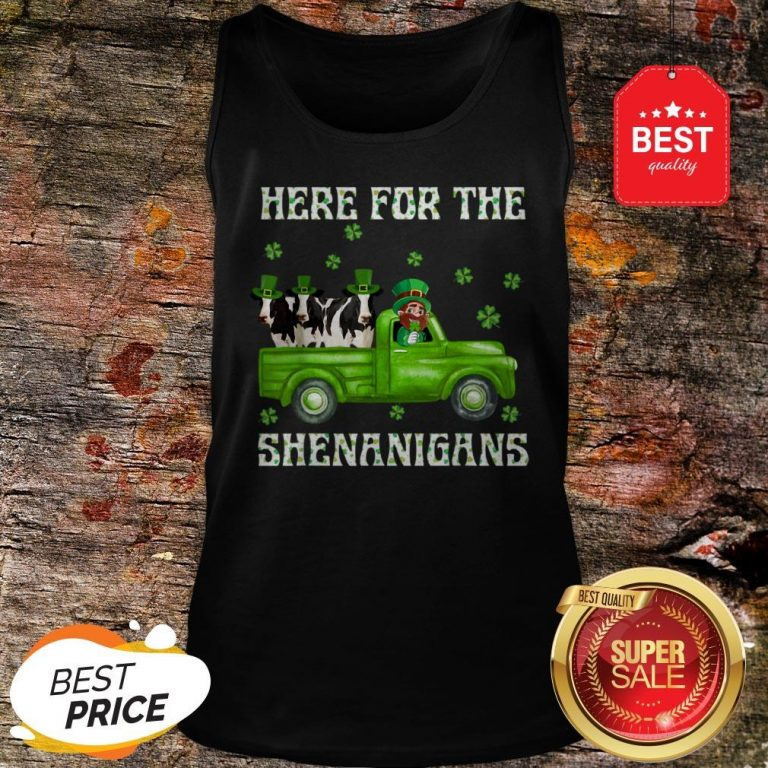 Here For The Shenanigans Leprechaun Cow St Patrick's Day Tank Top