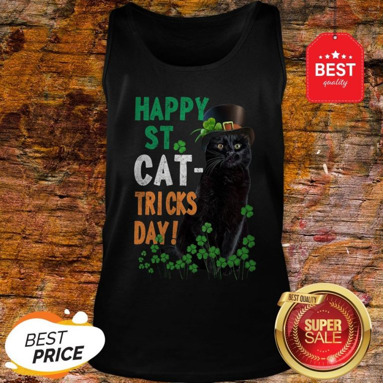 Official Happy St Cat-Tricks Day St. Patrick Day Black Cat Tank Top