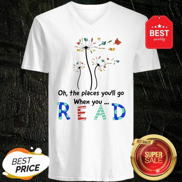 Official Flower Oh The Places You'll Go When You Read V-Neck