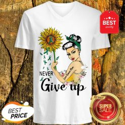 Never Give Up Liver Cancer Mom Cancer Awareness Girl Sunflower V-Neck
