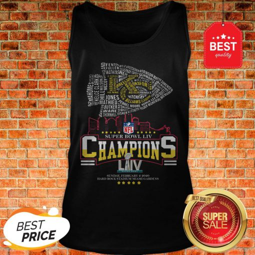 Official All Name Players Kansas City Chiefs Super Bowl LIV Champions Tank Top