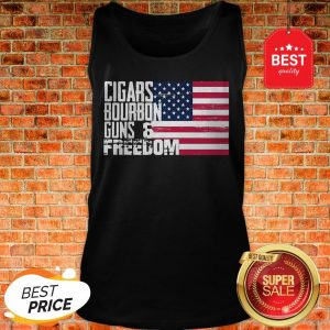 Official Cigars Bourbon Guns Freedom American Flag Tank Top