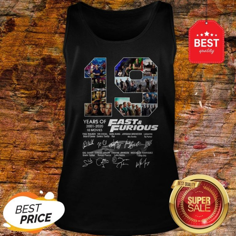Official 19 Years Of Fast & Furious 2001 2020 10 Movies Signatures Tank Top